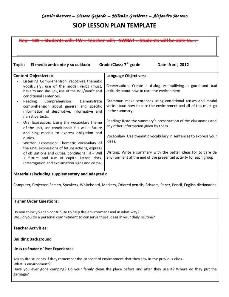 Writing Lesson Plan Template Siop Unit Lesson Plan Template Sei Model