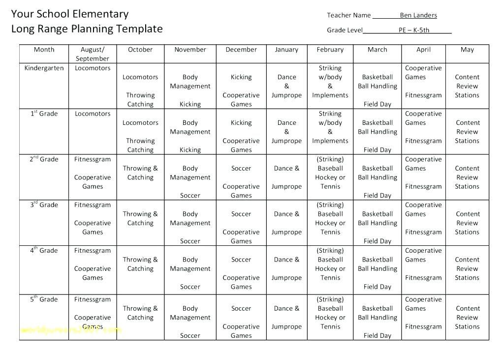 Yearly Plan Template for Teachers Pin On I Teach P E