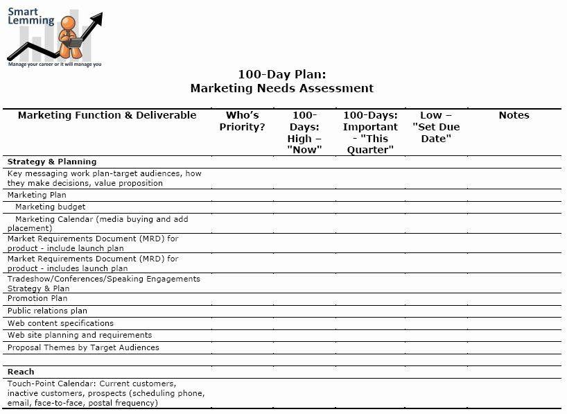 100 Day Plan Template Excel 100 Day Plan Template Excel Unique Needs assessment Template