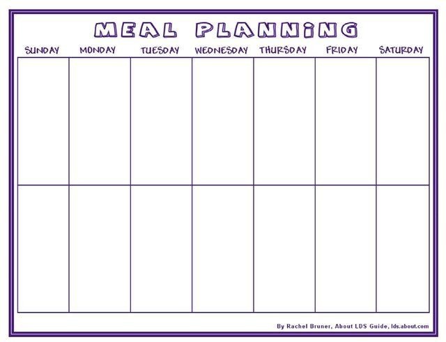 2 Week Meal Planner Template Quick Primer On Lds Mormon Church Doctrine