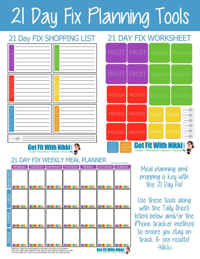 21 Day Meal Plan Template 21 Day Fix Planning tools