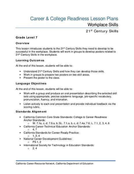 21st Century Lesson Plan Template Workplace Skills Lesson Plan