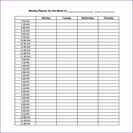 24 Hour Planner Template 24 Hour Weekly Schedule Template Luxury 7 Excel 24 Hour
