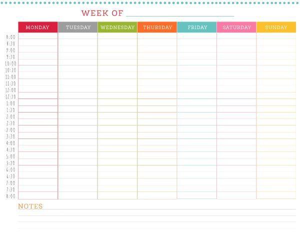 24 Hour Planner Template Free Printable Weekly Schedule