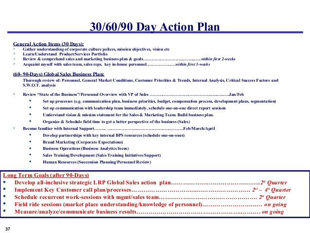 30 60 90 Plan Template Example Global Sales Marketing Business Plan 37 638 638