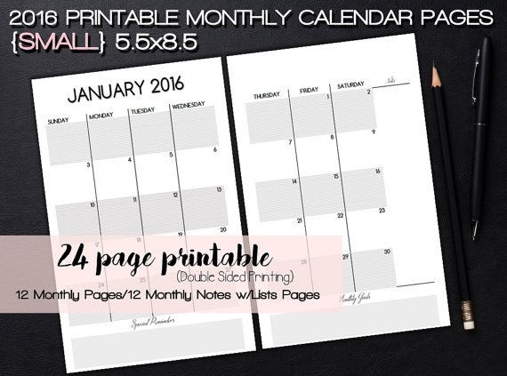 5 5 X 8 5 Planner Template 5 5x8 5 Dated Printable Monthly Calendar with Monthly Notes