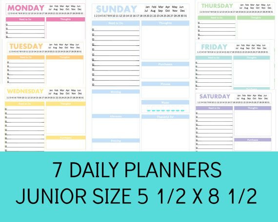 5 5 X 8 5 Planner Template Daily Planner Printable Daily Planner Pages Printable