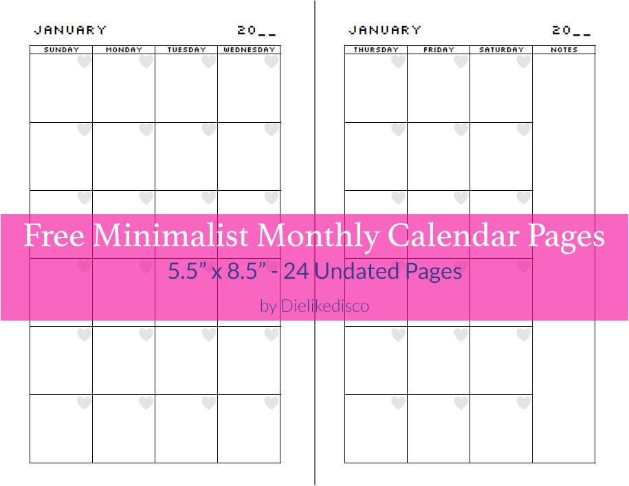 5 5 X 8 5 Planner Template Free Minimalist Calendar Pages Likedisco