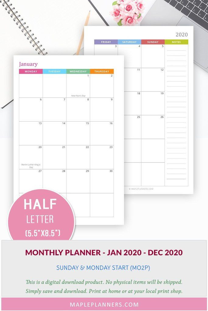 5 5 X 8 5 Planner Template Monthly Planner 2020 Printable Download Half Letter Size