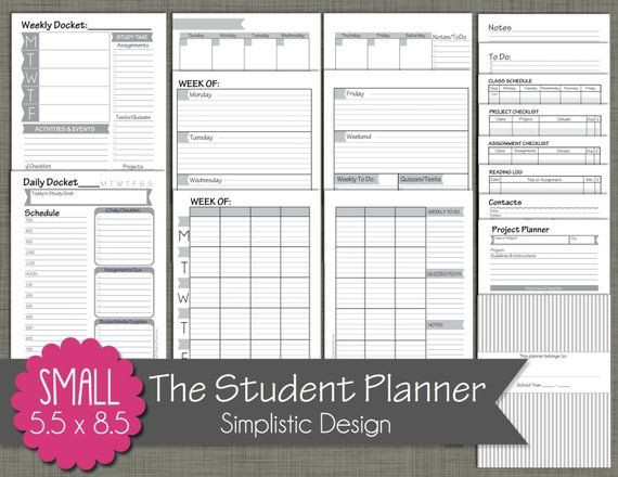 "5 5 X 8 5 Planner Template Student Planner Printable Set Sized Small 5 5"" X 8 5"
