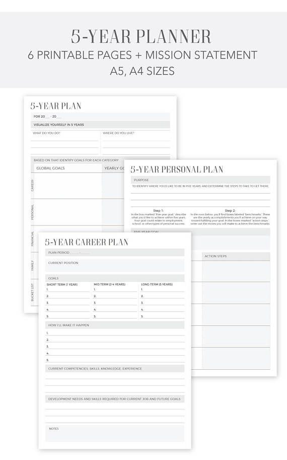 5 Year Goal Plan Template 5 Year Planner Personal Career Yearly Planner 7 Pages A4 A5