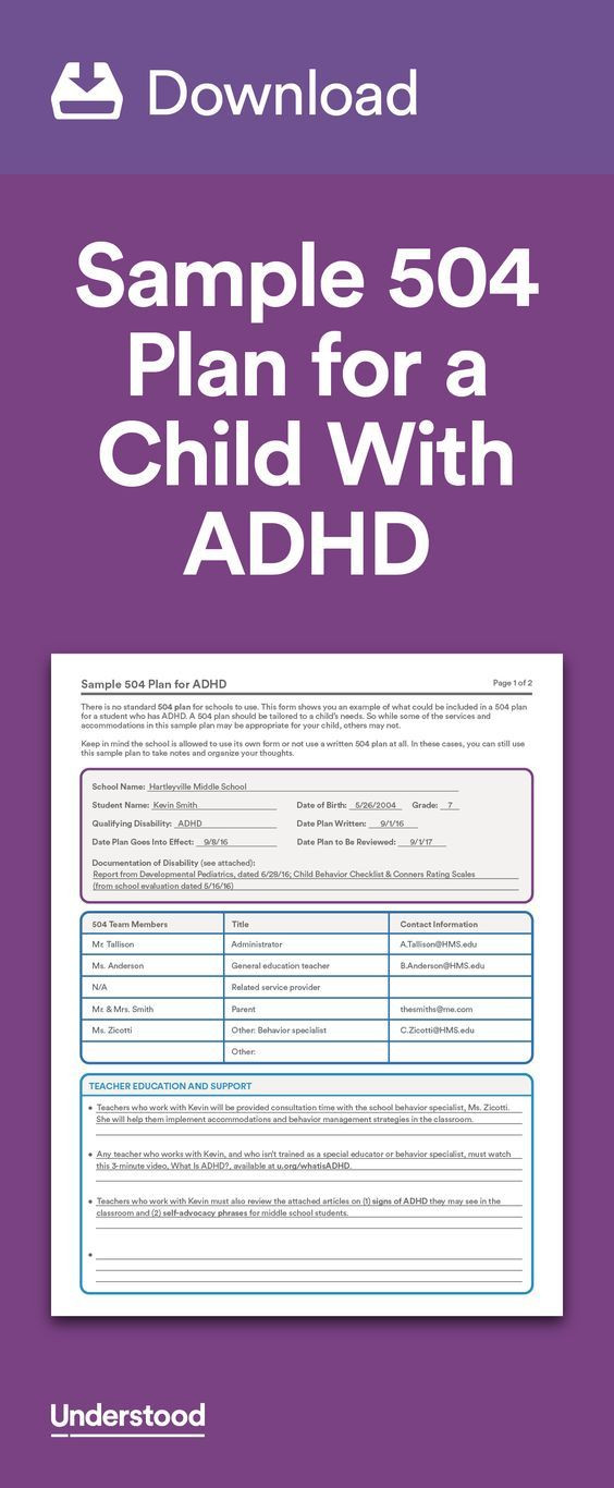 504 Plan Template Adhd Pin On Iep