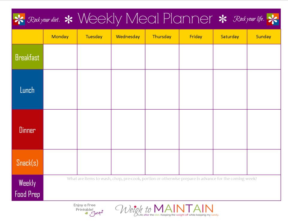 7 Day Meal Plan Template Blank Weekly Meal Plan Sheet