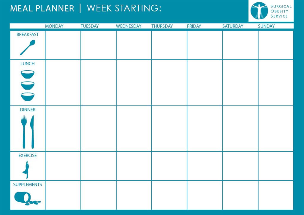 7 Day Meal Plan Template Daily Meal Plan Template