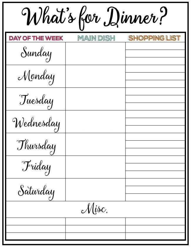 7 Day Meal Plan Template Weekly Meal Plan & Printable Week 5