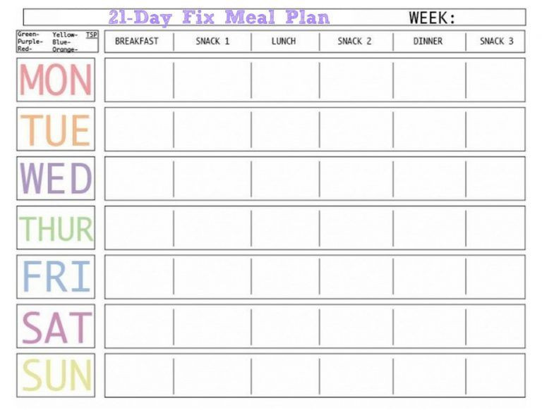 7 Day Meal Plan Template Weekly Meal Planner Template with Snacks Website with Photo