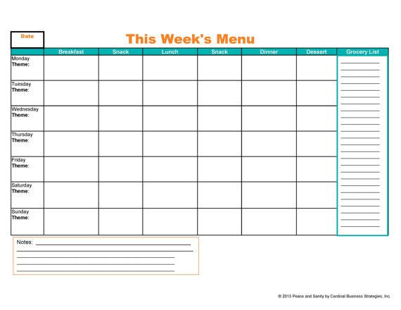 7 Day Meal Plan Template Weekly Menu Meal Planner and Grocery List Printable Pdf