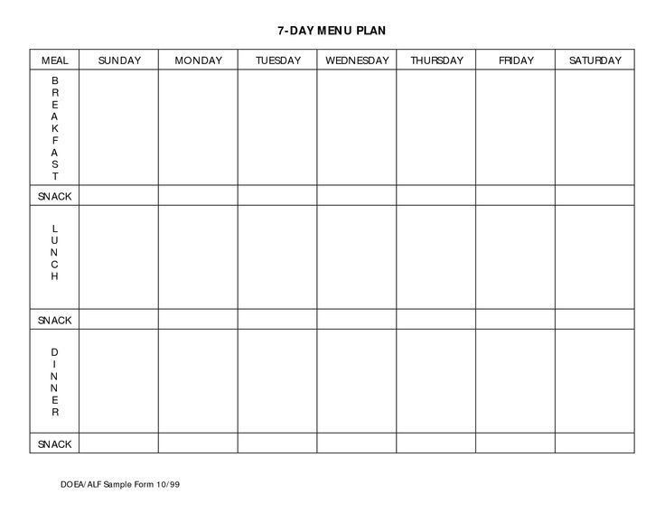 7 Day Menu Planner Template 7 Day Meal Planner Template Business Letter Template