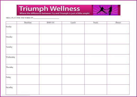 7 Day Menu Planner Template Free Daily Meal Planner Template