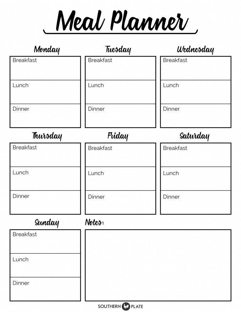 7 Day Menu Planner Template Meal Planner Printable 7 Days Breakfast Lunch and Dinner