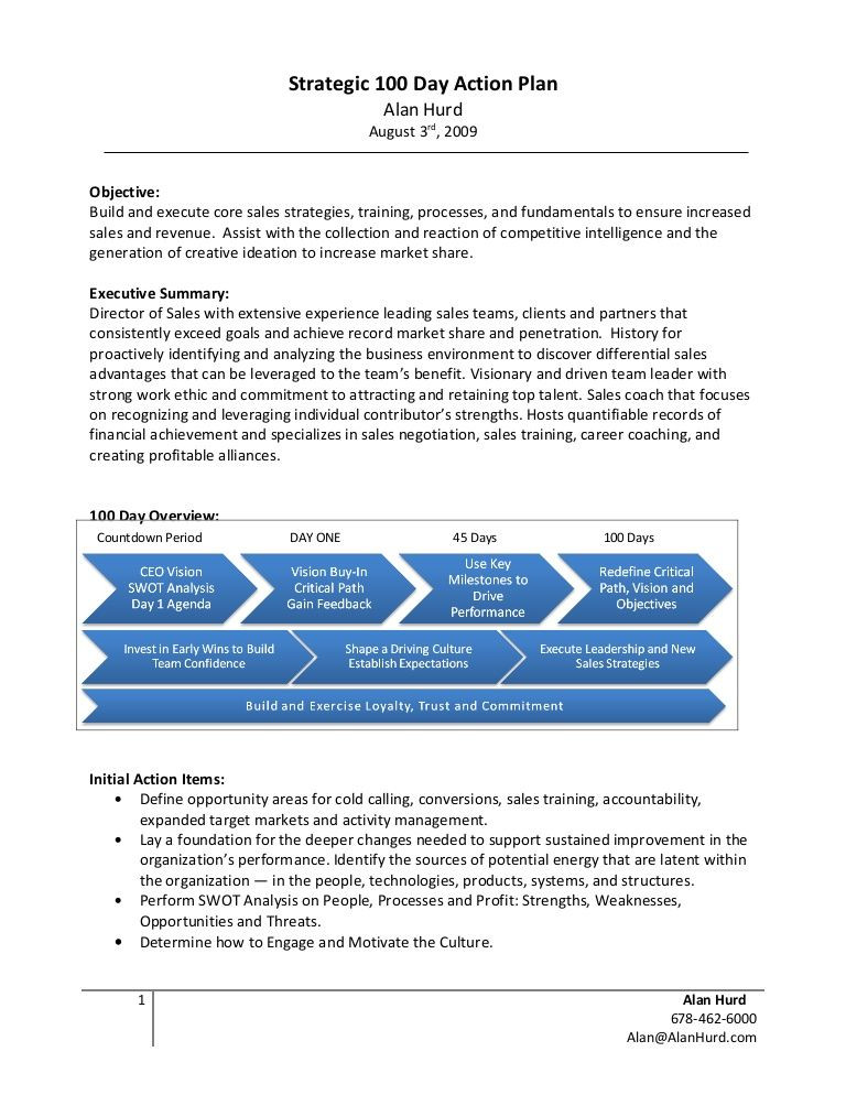 90 Day Action Plan Template Alan Hurd Strategic 100 Day Action Plan Example by Alan Hurd