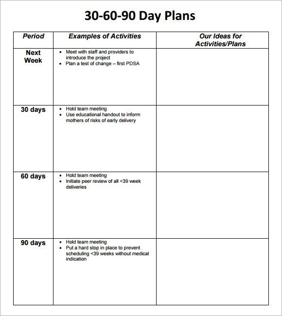 90 Day Entry Plan Template 30 60 90 Day Business Plan Template