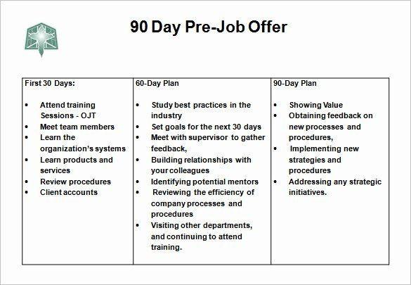 90 Day Management Plan Template Free 30 60 90 Day Plan Template Word Awesome 12 30 60 90 Day