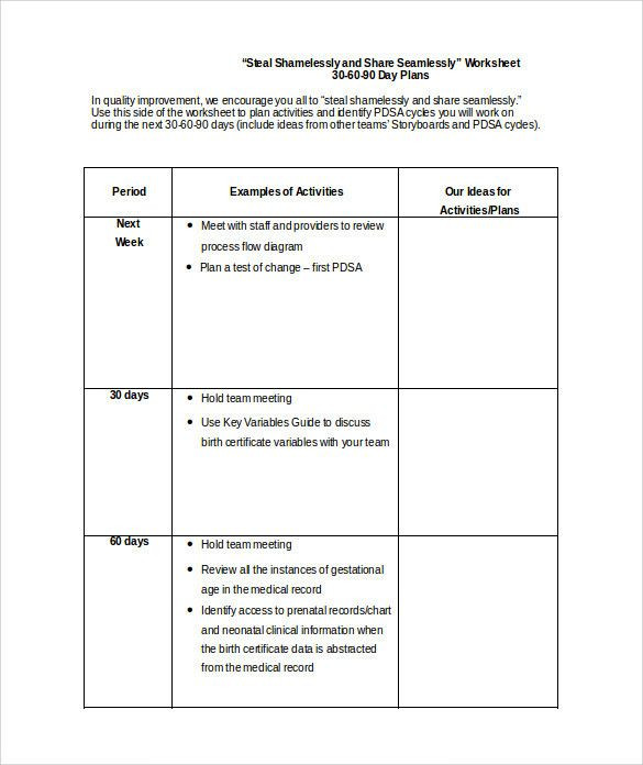90 Day Plan Template Excel 30 Day Business Plan Template Fresh 20 30 60 90 Day Plan