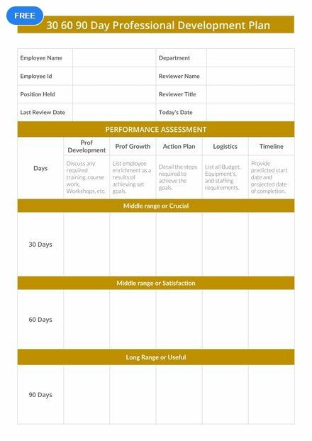90 Day Plan Template Excel Free 30 60 90 Day Professional Development Plan Template