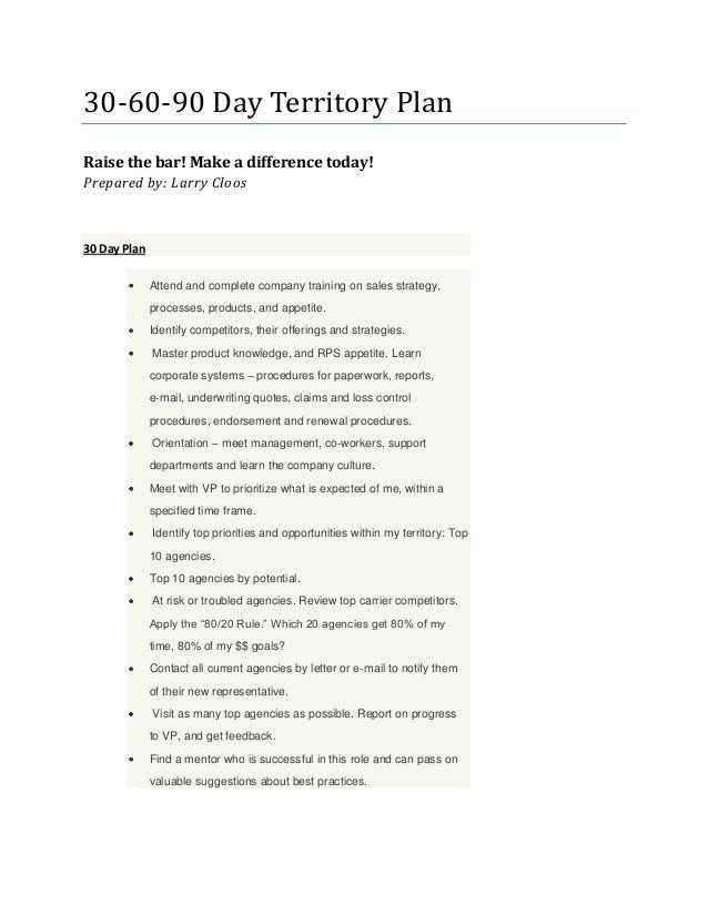 90 Day Sales Plan Template 90 Day Sales Plan Larry S 30 60 90 Day Territory Plan In
