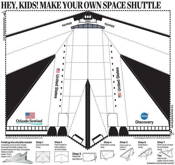 Airplane Template to Cut Out Paper Airplane Template Printable Space Shuttle