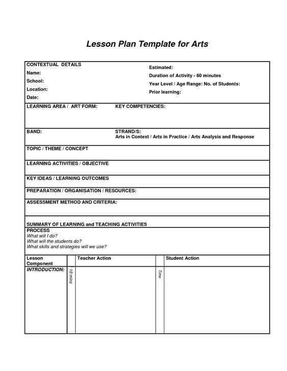 Art Lesson Plan Template Lesson Plan Template for Arts