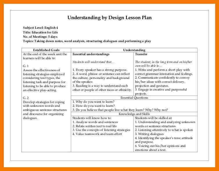 Backward Design Lesson Plan Template 5 Backwards Design Lesson Plan Template