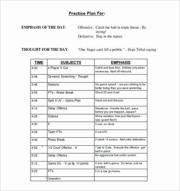 Basketball Practice Plans Template Football Practice Schedule Template Download Unique 13