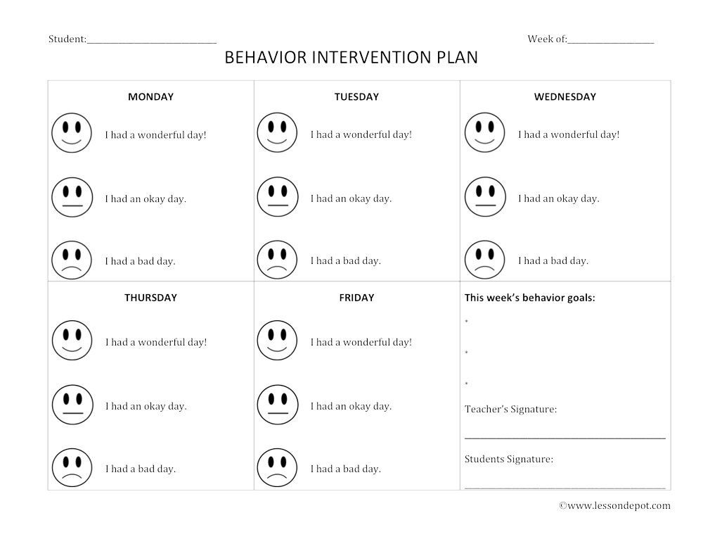 Behavior Intervention Plan Template Lesson Depot Behavior Intervention Lesson Plan Template