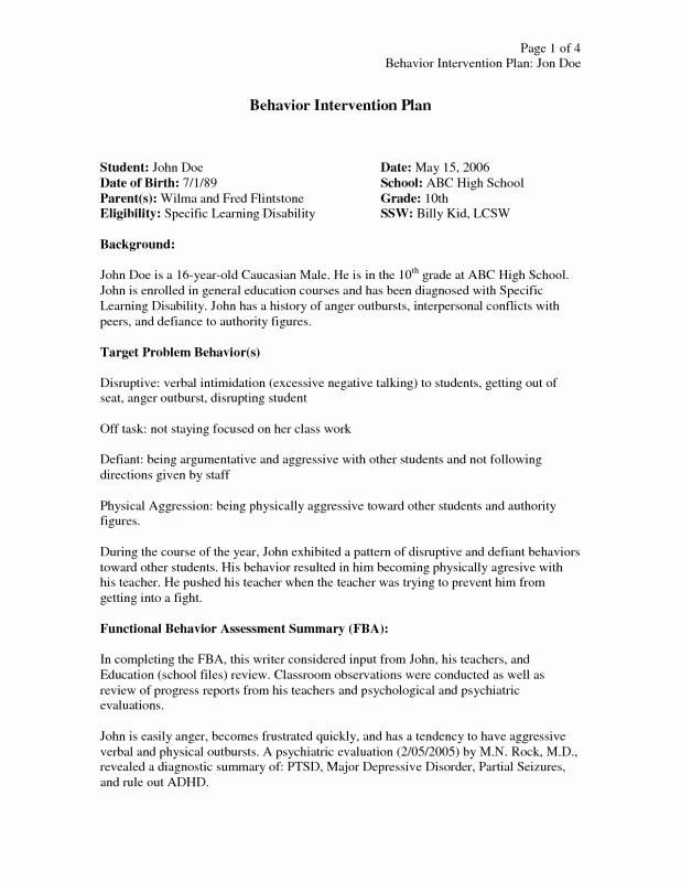 Behavior Intervention Plan Template Sample Behavior Intervention Plan Elegant Behavior
