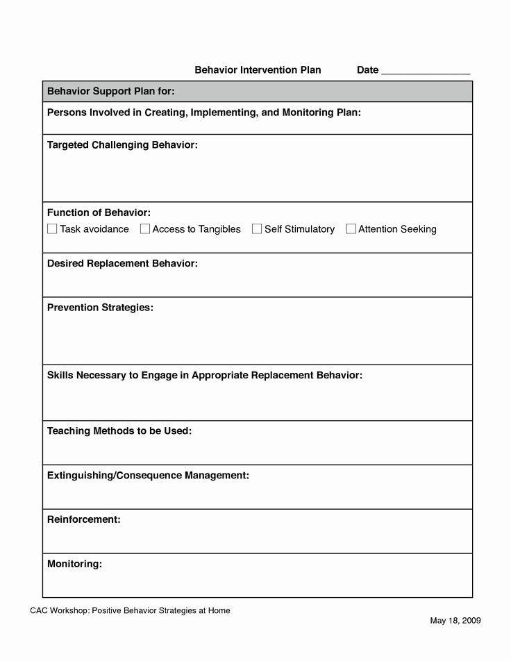 Behavior Modification Plan Template Behavior Intervention Plan Template Inspirational 11 Best