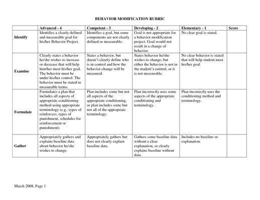 Behavior Plan Template Behavior Modification Rubric