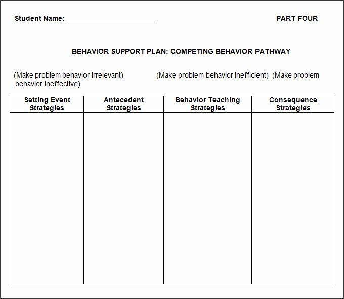 Behavior Plan Template Behavior Support Plan Template Inspirational Behavior Plan