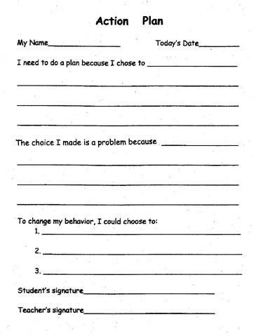 Behavior Plan Template for Elementary Desktop Publishing forgrade 5 Open