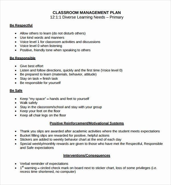 Behavior Plan Template for Elementary Sample Behavior Plan Fresh Sample Classroom Management Plan