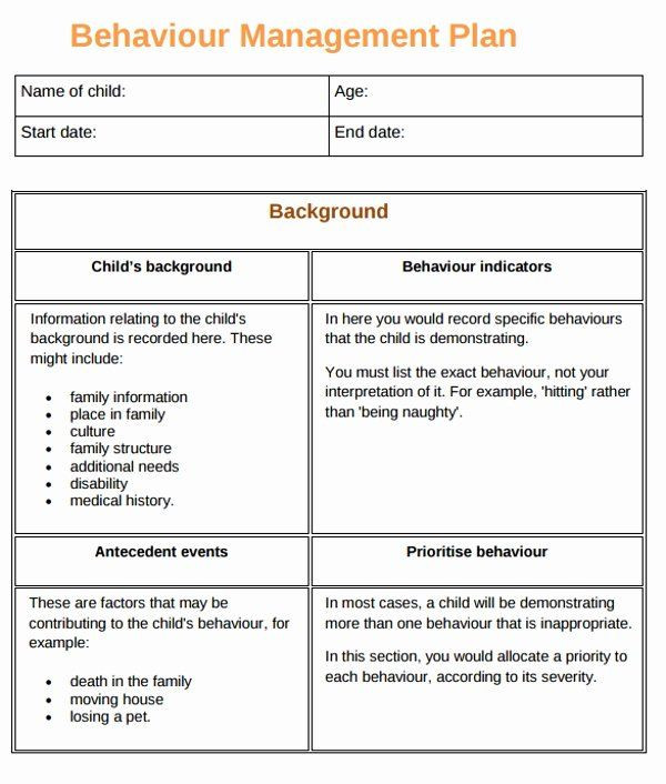 Behavior Plan Template Sample Behavior Plan Luxury 10 Behaviour Management Plan