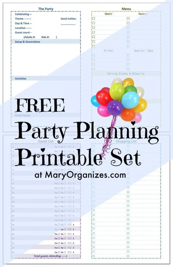 Birthday Party Planner Template Party Planning Printable Creatingmaryshome