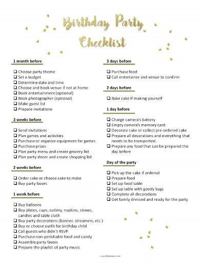 Birthday Party Planner Template Party Planning Template