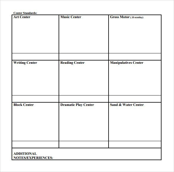 Blank Lesson Plan Template Pin On Preschool Activities