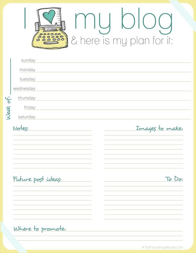 Blog Planner Template 31 Awesome and totally Free Blog organization Printable S
