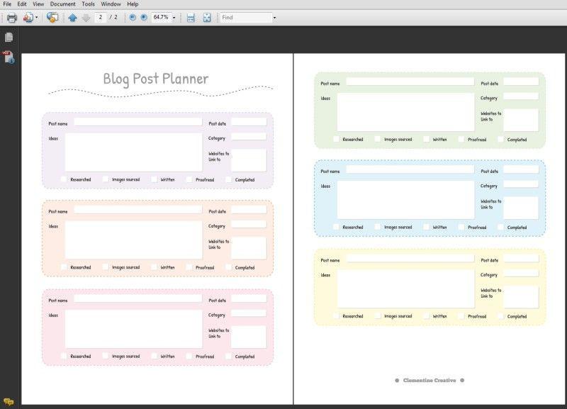 Blog Planner Template Blog Post Planner Free Printable