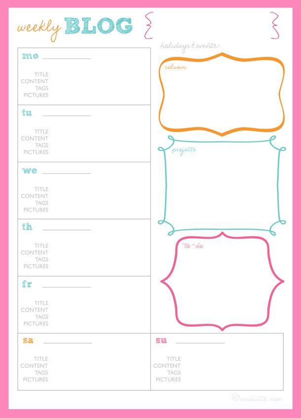 Blog Planner Template Get organized Blog Planner Printables