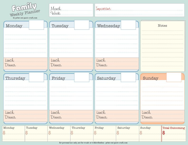 Blog Planner Template Weekly Planner for A Busy Family
