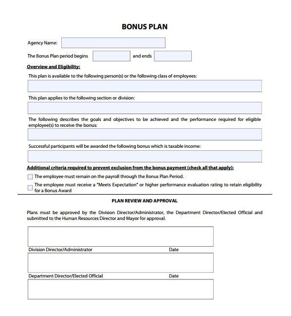 Bonus Plan Template Performance Incentive Pensation Plan Template
